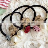 decoratie curly flower beads hair ties elastic hair band for girls