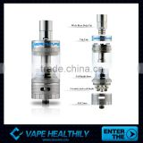 stainless steel & pyrex glass ceramic wick dual coil atomizer with 3 cermic coil heads 6 heating coils
