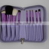 purple 9 piece animal hair makeup tools make up brush set with pouch