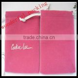 faux suede jewelry pouch / bag in pink color with custom logo
