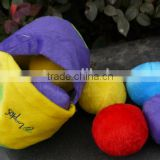 Stuffed Plush pet toys with squeaker/Resistance to bite pet ball bag toys/custom dog play ball bag set toys
