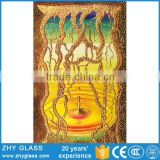 Custom Design Wall Decoration 12mm Thick Toughened Glass Stained Glass