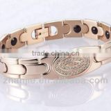 broad wide rose gold plated energy titanium bracelet inlaid with crystal stones