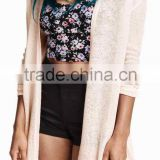 Hot toys 2016 spring women long sleeve european thin cardigan coat buttonless cotton bamboo plain white knitted sweater