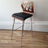New Commercial Furniture General Use Bar Stool High Chair with Black PU Leather Upholstery