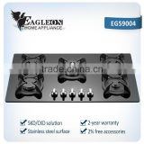Black glass 10mm thickness 5 gas cooker factory cooking range prices/ black glass/mior glass/digital printing