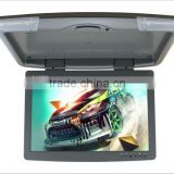 Roof mount lcd color monitor with mp3/mp4,15-inch ceiling motorized flip down car monitor