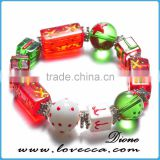 Handmade Christmas Stretch Bracelet With Snowman Handpainted Glass Bead Bracelets