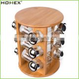 Rotating Bamboo Spice Set with Glass Jar/Natural Spice Rack/Homex_FSC/BSCI Factory