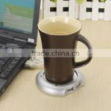 New Arrival Wired Muti-function Tea Coffee Cup Mug Warmer Heater Office Pad With 4 Port Hub USB Gadget For PC For Mac