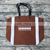 Cotton Canvas Baseball Tote Wholesale Blanks Baseball purse with PU Handle