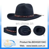 Nice quality wool felt black cowboy hat with tassel and leather band