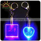 Cheap Beautiful Blinking Gifts Fashionable Light Up LED Flashing PVC Keychain, Custom Key Chain
