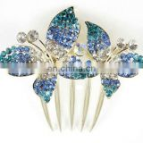 2013 newest fashion alloy butterfly rhinestone hair comb fork
