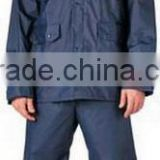 20mm PVC/coated Navy blue nylon waterproof Rain Suit with dual-entry pockets and ventilated cape back and hooded Mens workwear