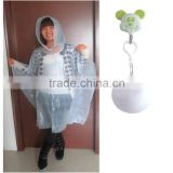 One time use ultra thin PE disposable rain poncho ball