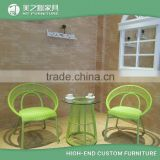 2016 new design modern bamboo green outdoor rattan garden furniture round wicker chairs