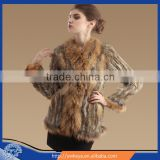 Big raccoon Collar Knit Rabbit Fur Long Sleeve Coat Winter long style real Fur Coat for 2015