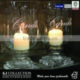 Cold Rolled Steel Hurricane Candle Holder With Clear Glass , Decal And Nickel Plated finishing