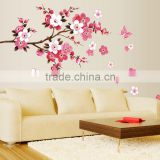 ZY6008 Cherry Blossom Wall Poster Waterproof Background Wall Sticker Stickers for Living room Bedroom Cafe Home Decor Decal Deca