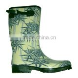 bamboo printed women rubber boots with buckle,fancy high quality girls rain boots,OEM best rain footwear supplier