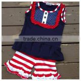 2015 Hot Sale!! Fashion Summer Baby Girls Outfits Kids Clothing Set 4th Of July Outfits