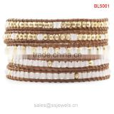 Fashion Natural Stone Jewelry Personalized Leather Wrap Bracelets With White Jade And Golden Copper Beads
