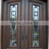 Wrought Iron Wooden Front Double Doors Design DJ-S9990MWA