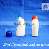 50ML top sponge applicator bent bottle for liquid medicine, hair building fiber bottles with top sponge