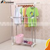 Telescopic plastic expandable clothes hanger,Double pole stainless steel clothes peg with hook,foldable clothes rack