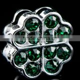 Popular Green Rhinestone Four Leaf Clover 8mm Slide Charms Lucky Charm