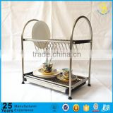 Manufacture Kitchen stainless steel dish rack, 2 tiers metal dish rack with drainer, corner dish rack(Guangzhou factory)