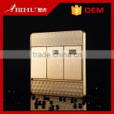 BIHU New design wall switch golden panel 3 gang intermediate switch for home