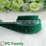 "5/8"" apple green Glitter Elastic Ribbon hairband DIY Ribbon"