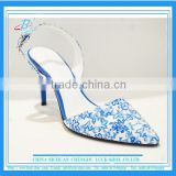 Blue printing sandals pointy toe sandals women high heel sandals