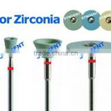 Dental diamond turbo grinder and stone wheel and zirconia block