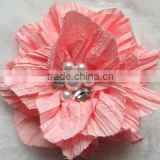 Wholesale Girls Flower Pearl Rhinestone Brooch Hair Flower Clip Hair Pin Faric Flower Artificial flowers