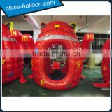 Inflatable red fortune cat cash machine / inflatable cartoon money machine for sales promotion