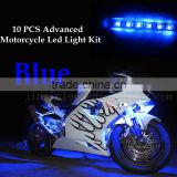 10pc Aura 3-into-1 Motorcycle LED Light Kit | Multi-Color Accent Glow Neon Strips w/Switch for Sport-Street