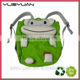 2015 Wholesale in China green frog and yellow millions character style hot sale animal school bags and backpacks