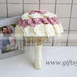 Handmade graceful pink white wedding bouquet with intricate beading work