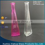 Triangular cone clear colored glass Flower vase