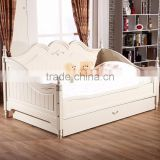 Handmade Pure White Classic European Style Floral Lounging Daybed with Big Drawers for Kids Bedroom BF11-09133a