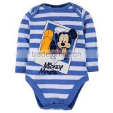 2015 newest arrival blue white stripes boys wear Bodysuits long sleeve printed cartoon mouse Newborn Baby Clothes baby romper