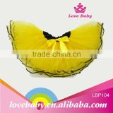 Customized children fancy yellow wholesale tulle skirt