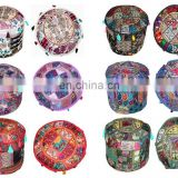 Bohemian Patch Work Pouf Ottoman Round Patchwork Embroidered Multi Ottoman Pouf Indian Decorative Ottoman Cover