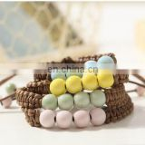 Fashion Ethnic Style Ceramic Bracelet Hand Woven Bohemia Jewelry Women 4 colors Beads with Bell Rope Chain