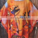 KGN INDIAN STYLE HAND PAINTED ORANGE SILK ART TO WEAR LONG PONCHO TUNIC DRESS