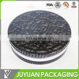 230mm diameter Wholesale food grade recycle flat round cute chocolate cookie tin box can