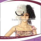 cheap half black and white carnival synthetic punk wigs